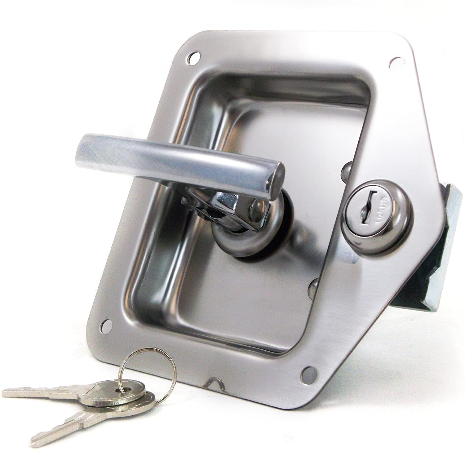 Red Hound Auto 2 Rv Door Tool Box Lock with Gasket T-Handle Latch with Keys 304 Stainless Steel Highly Polished