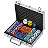 Rally and Roar Professional Poker Set w/ Hard Case, 2 Card Decks, 5 Dice, 3 Buttons - Multiple Options