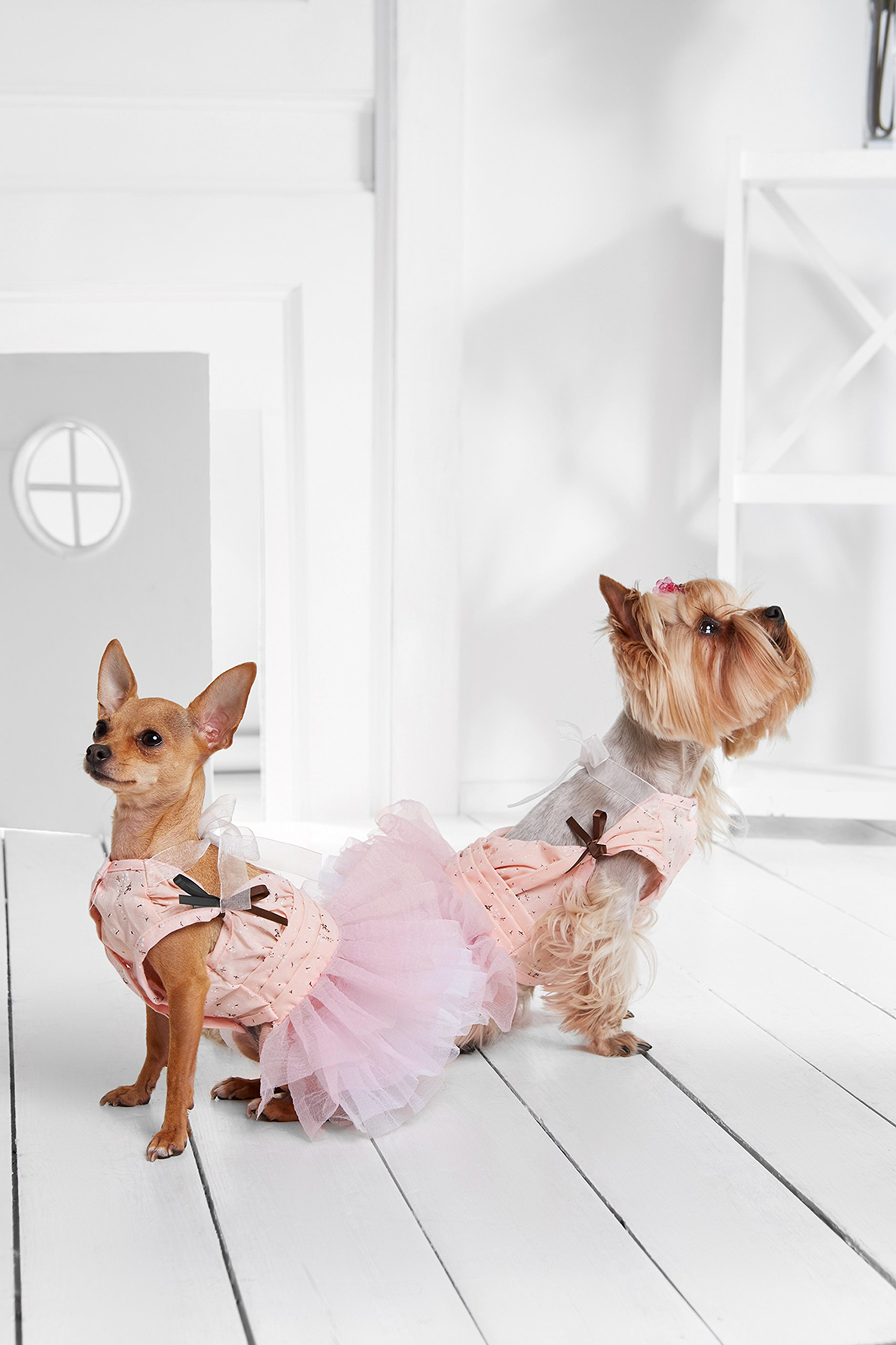 "Small Dog Tutu Dress With Snaps 4 Layers Skirt Pet Princess Puppy Party Outfit (Small Plus: 15"" / 9-18 lbs, Pink)"