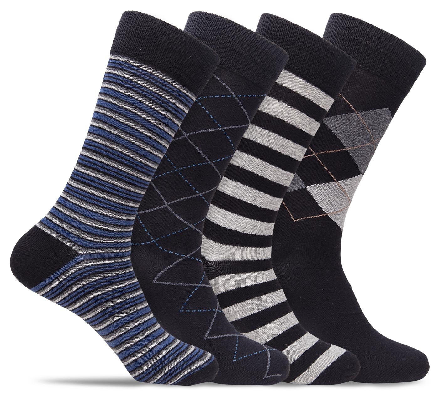 Mens 4 Pack of Cotton Blend Fun, Funky and Colorful Business Dress Socks (Shoe: 8-12/Sock: 10-13, Black/Grey B)