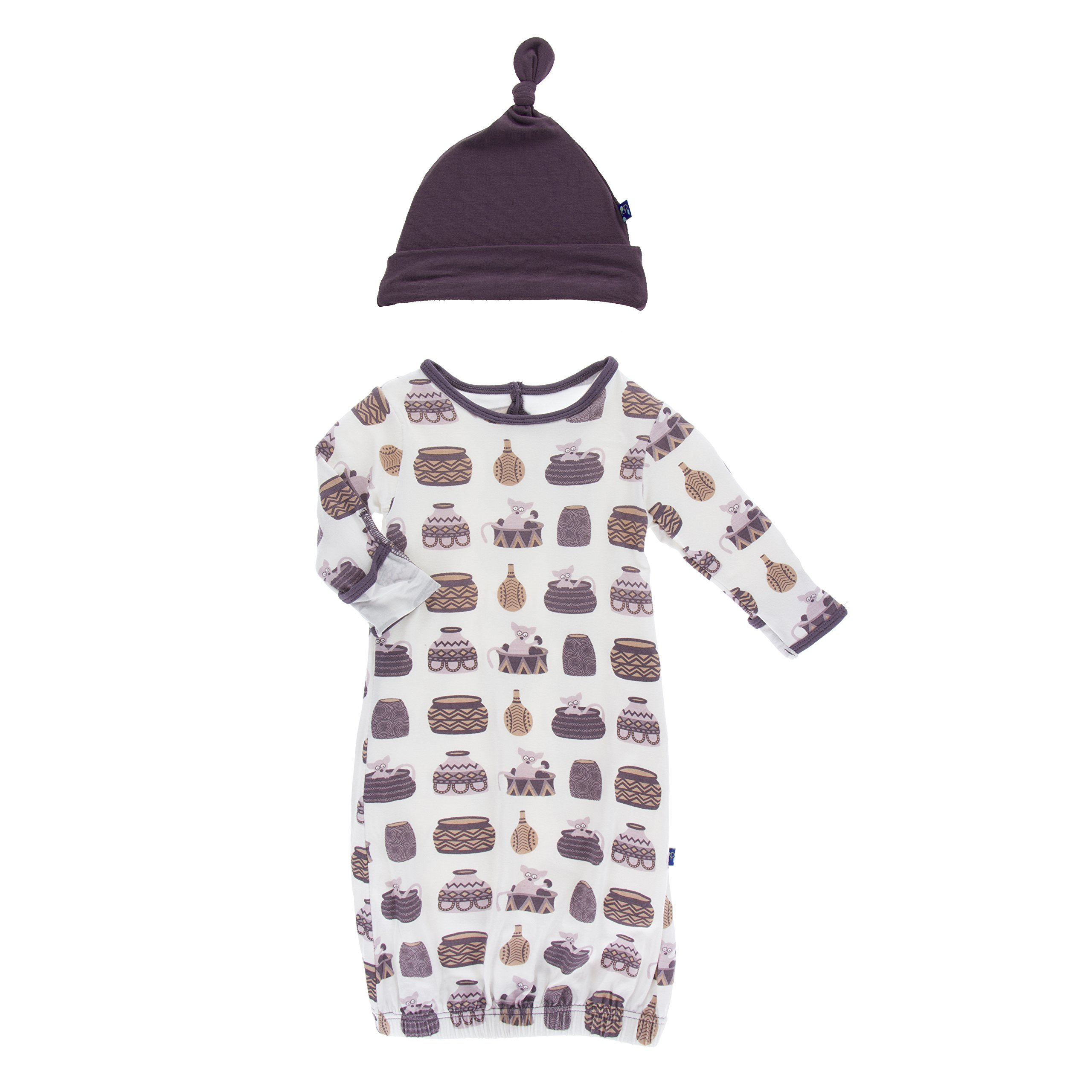 Kickee Pants Little Girls Print Layette Gown & Single Knot Hat Set ...
