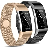 [Pack 2] Metal Loop Bands Compatible with Fitbit Charge 2 Band, Adjustable Stainless Steel Magnetic Lock Replacement…
