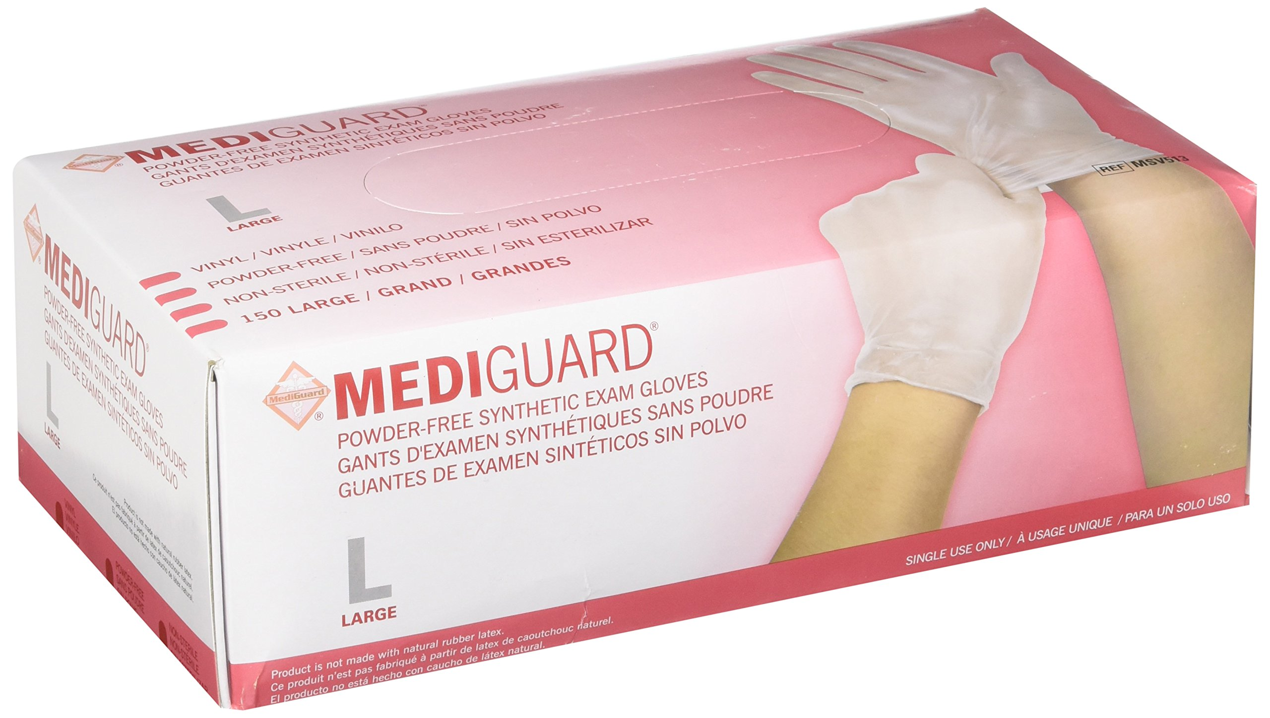 MediGuard Vinyl Synthetic Exam Gloves Size: Large by Medline (Image #1)