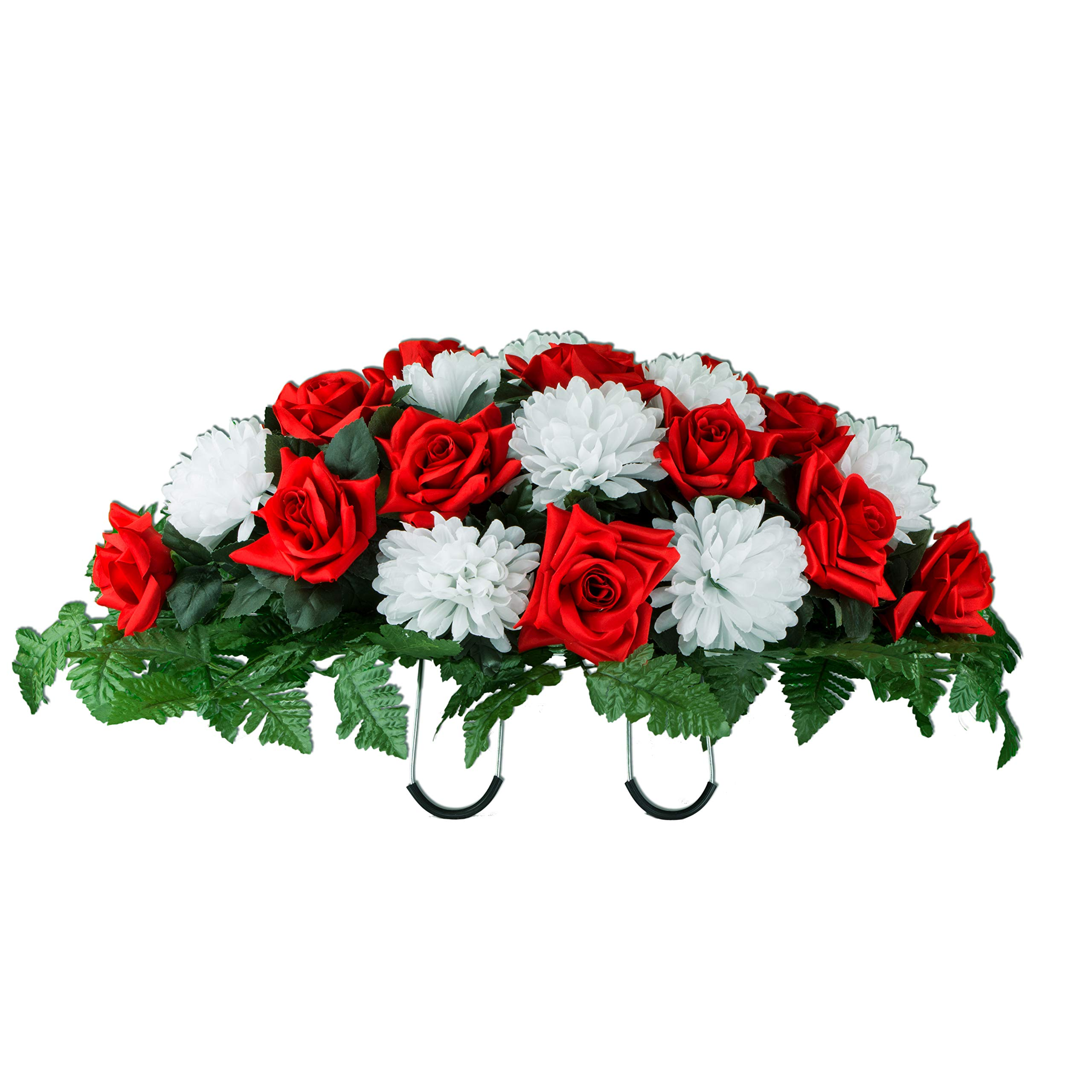 Sympathy-Silks-Artificial-Cemetery-Flowers-Saddle-Arrangement-Red-Rose-White-Mums-Silk-Fake-Flowers-for-Outdoor-Grave-Decorations-Non-Bleed-Colors-Easy-Fit