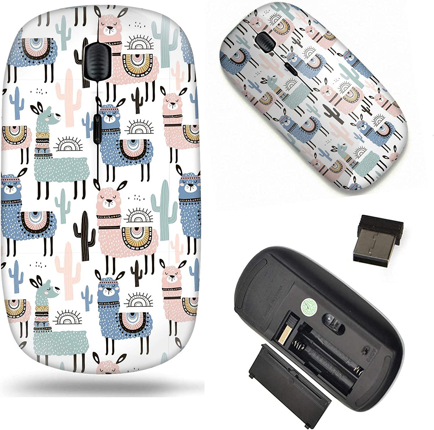 Unique Pattern Optical Mice Mobile Wireless Mouse 2.4G Portable for Notebook, PC, Laptop, Computer - Cute Llama and Cactus Pattern