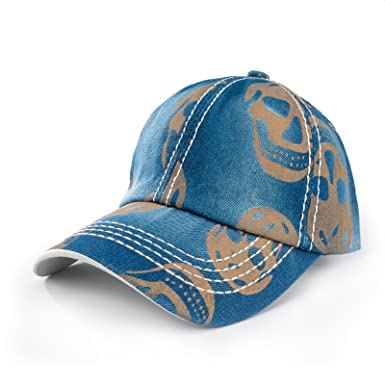 New Baseball Cap Skull Unisex Men Women Flexfit Trucker Hat Caps Snapback  (Blue Gold)  Amazon.co.uk  Clothing 3ecb58f7f