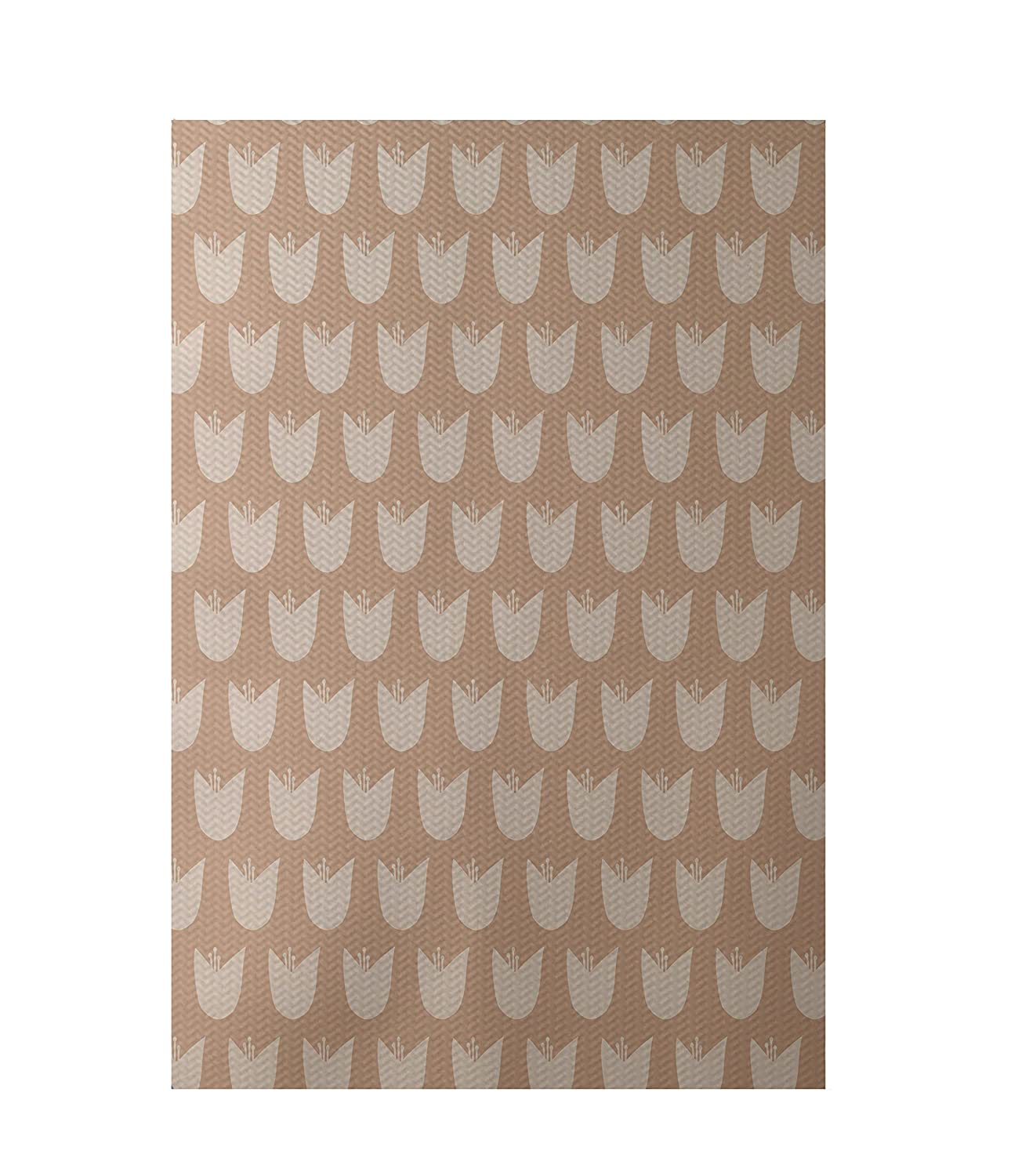 Almond Butter E by design RFN174TA5TA7-35 Tulips Floral Print Indoor//Outdoor Rug