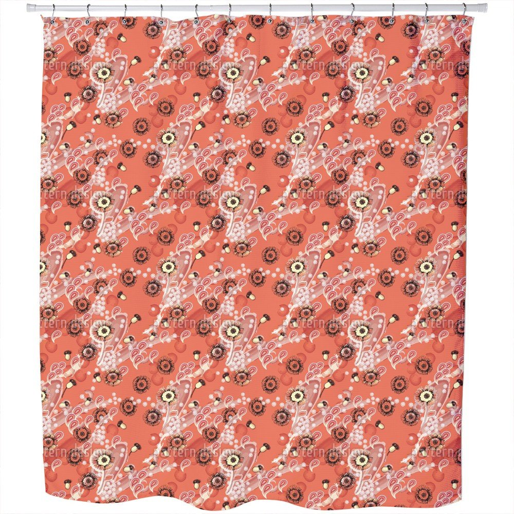 Uneekee Apricot Flora Shower Curtain: Large Waterproof Luxurious Bathroom Design Woven Fabric
