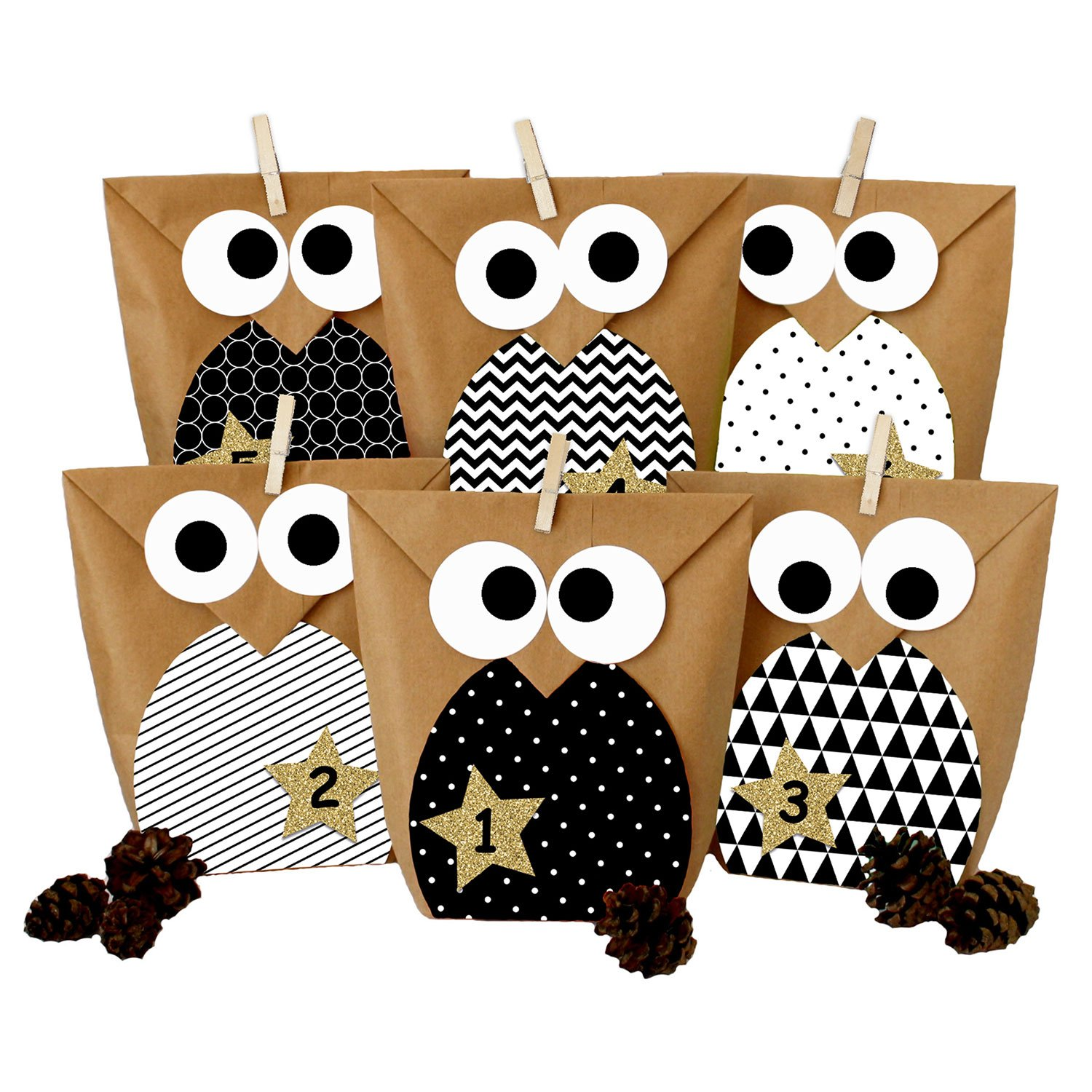 DIY Advent calendar - Christmas owls black and white – Advent calendar for making and filling