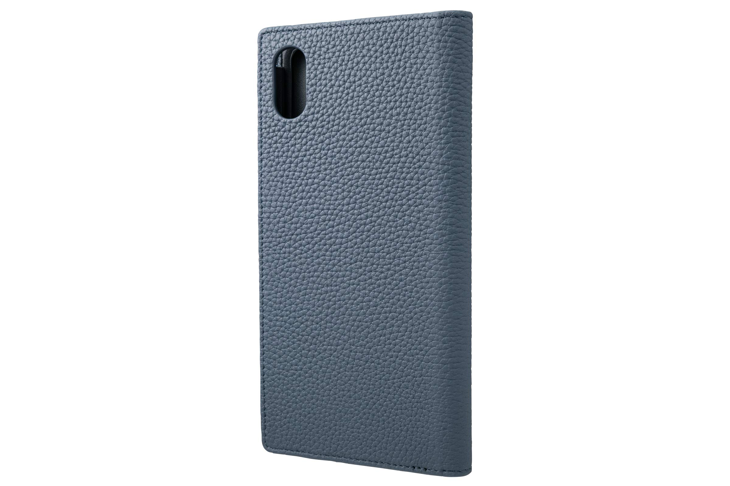 GRAMAS German Shrunken-Calf Genuine Leather Book Case Compatible with iPhone Xs Max Navy