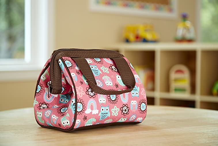 Fit & Fresh Kids' Riley Insulated Lunch Bag with Zipper, Cute School Lunch Box for Girls, Rainbow Owls