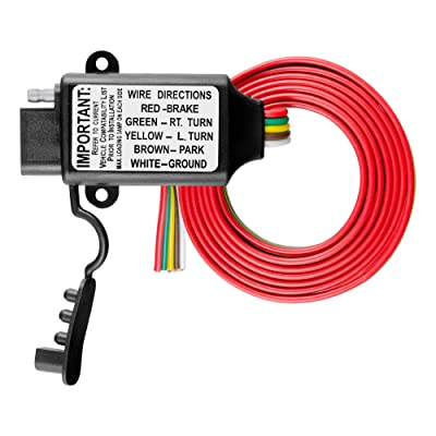CURT 55178 Non-Powered 3-to-2-Wire Splice-in Trailer Tail Light Converter with 4-Pin Wiring Harness: Automotive