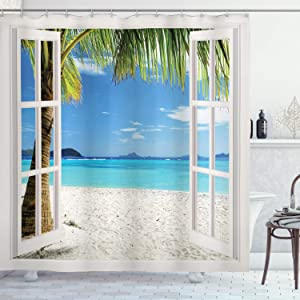 Ambesonne Turquoise Shower Curtain, Tropical Palm Trees on Island Ocean Beach Through White Wooden Windows, Cloth Fabric Bathroom Decor Set with Hooks, 75