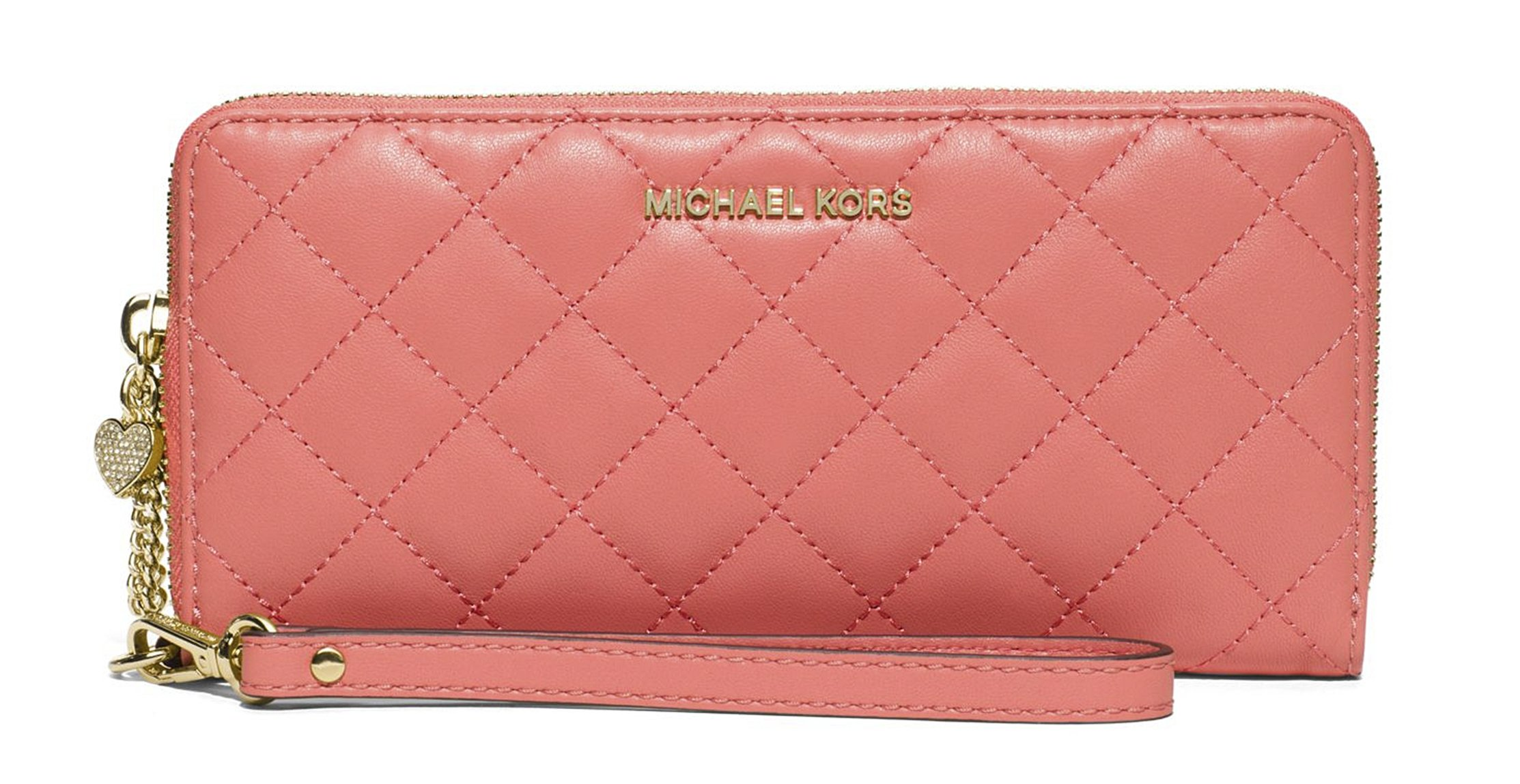 Michael Kors Jet Set Travel Leather Large Zip Continental Wallet (Peach)