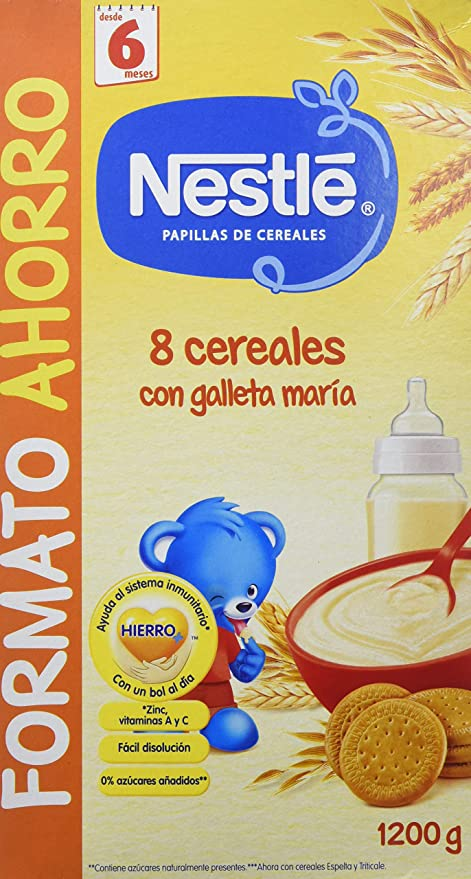 Nestlé Papillas 8 Cereales Con Galleta María A Partir De 6 Meses - 1200 g