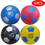 Macro Giant 6 Inch (Diameter) Soft Foam Soccer, Set of 4, 4 Colors (Red, Blue, Black, Yellow), Beginner, Training Practice, Kickball, Kids Toys