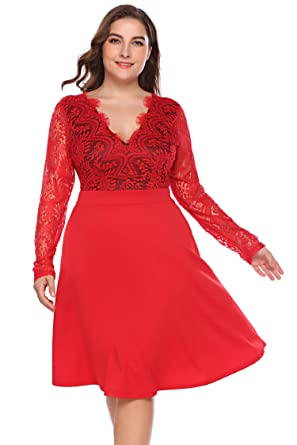 de09365def6 Involand Women Plus Size Sexy Deep V Neck Hollow Floral Lace Long Sleeve  Evening Party Midi