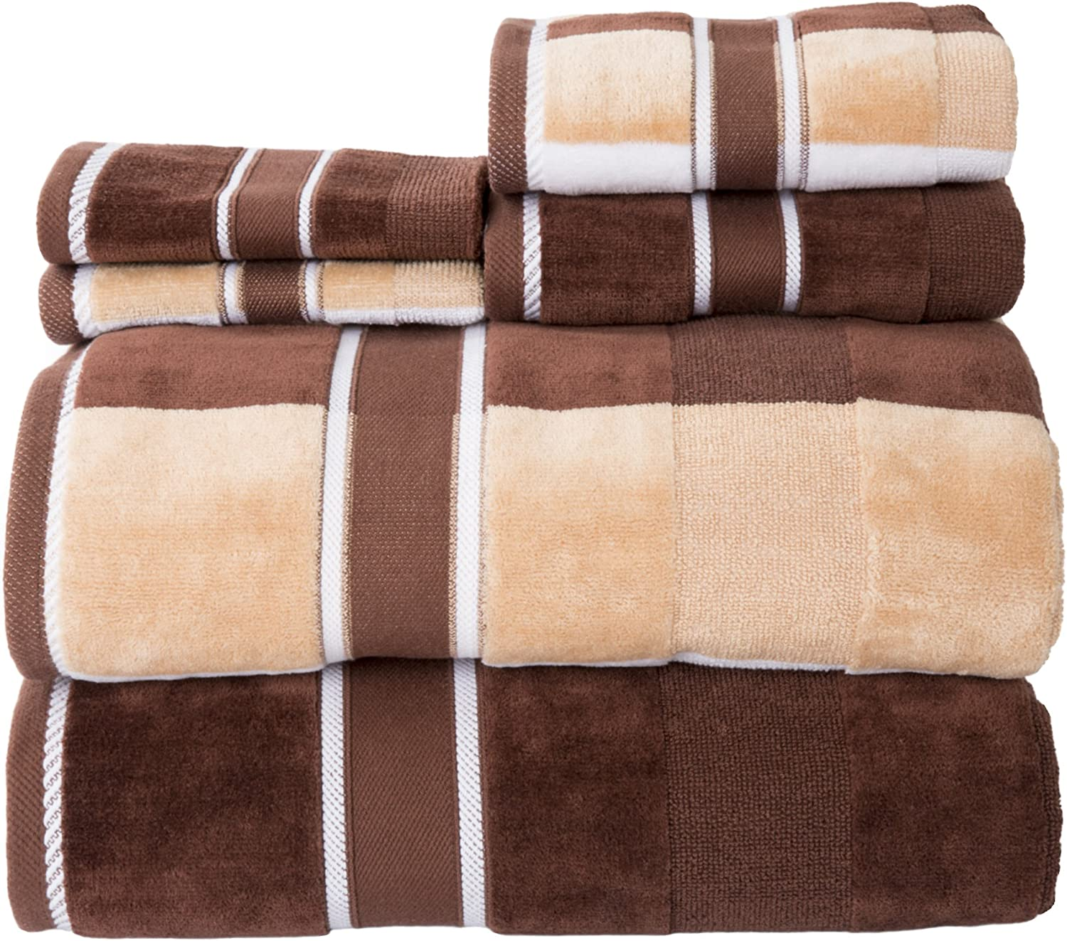 Lavish Home 100% Cotton Oakville Velour 6 Piece Towel Set-Chocolate