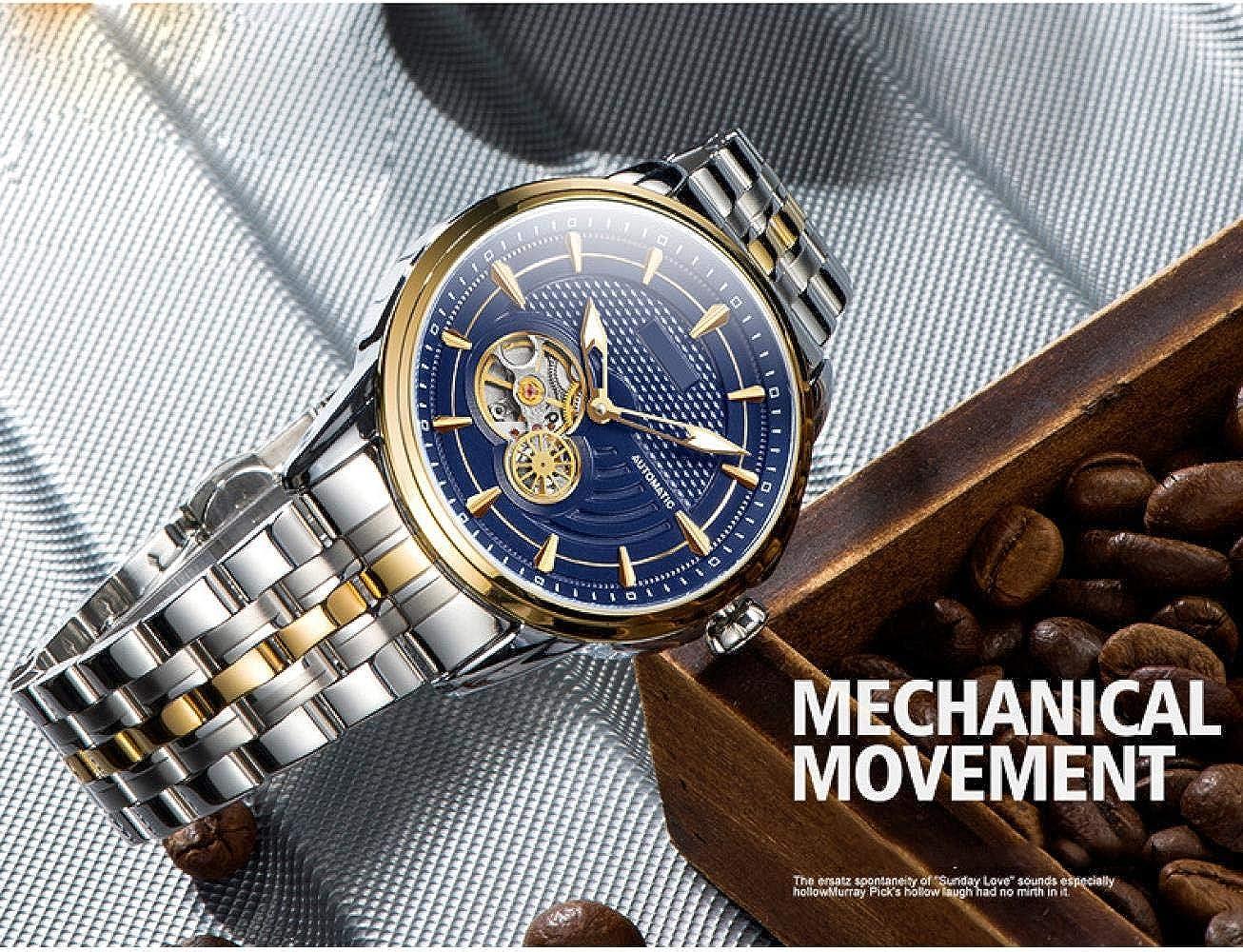 Montres Hommes,Montre Mécanique Imperméable Automatique De Montre Creuse d'affaires Golden Blue Face