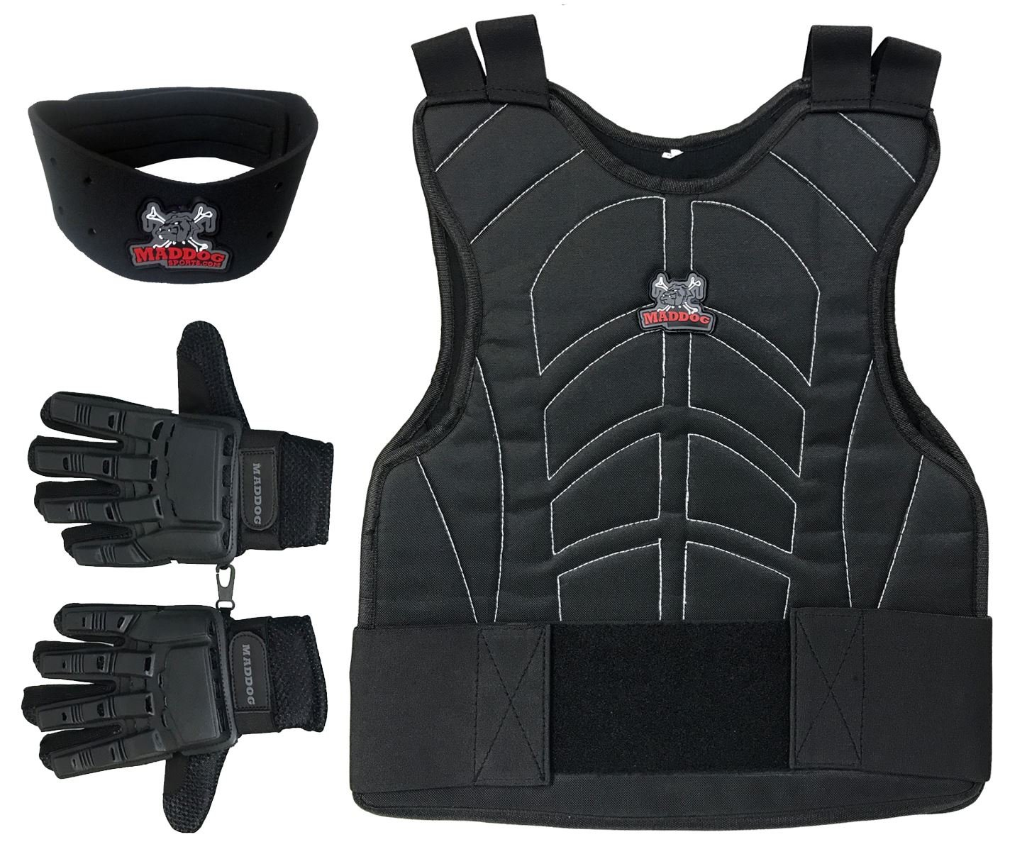 Maddog Sports Padded Chest Protector, Full Finger Tactical Gloves, Neck Protector Combo Package - Black - Large/X-Large by MAddog