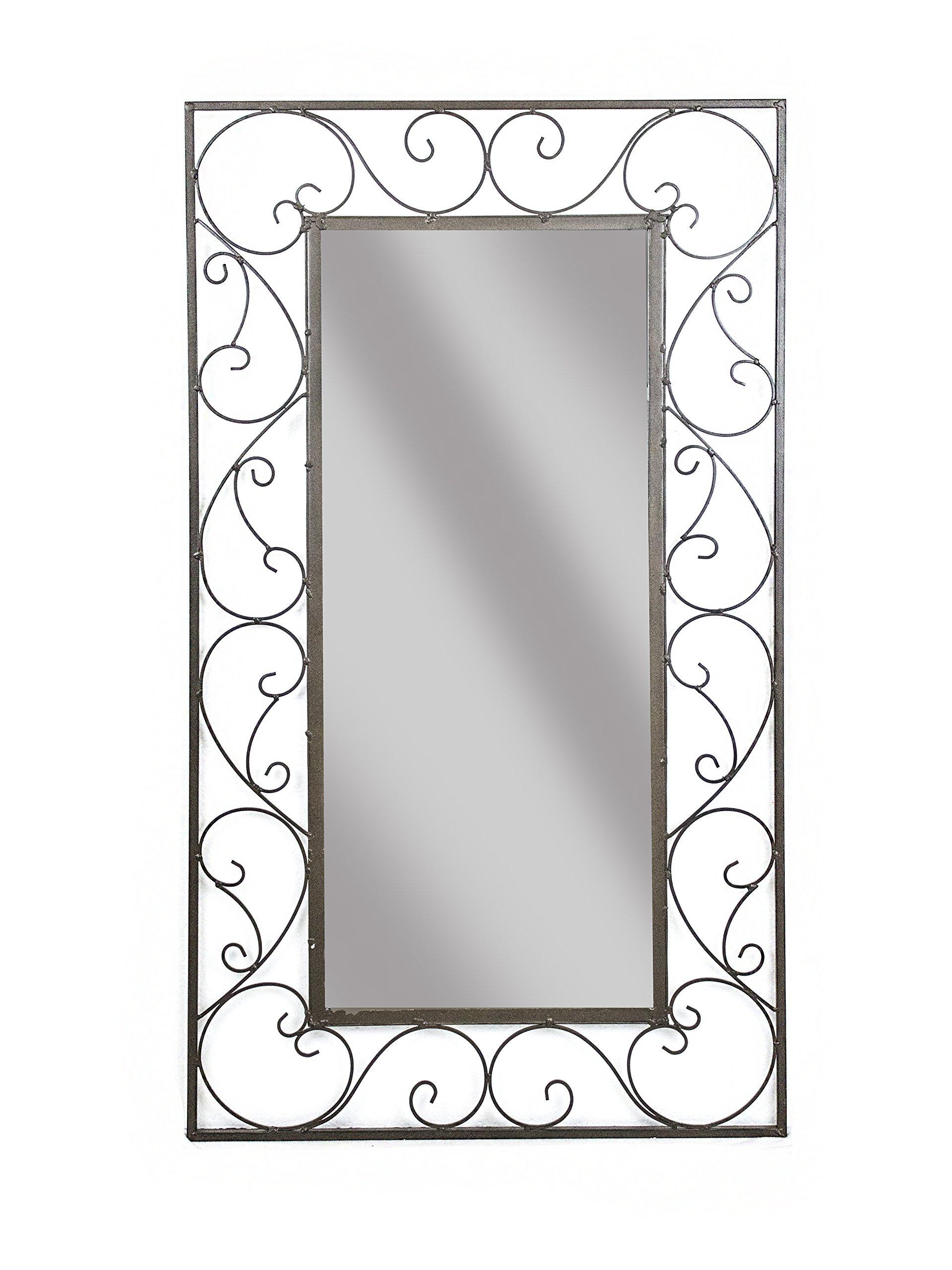 Sagebrook Home WM10333-01 Scroll Wall Mirror, Black Metal, 19.75 x 0.25 x 35.5 Inches