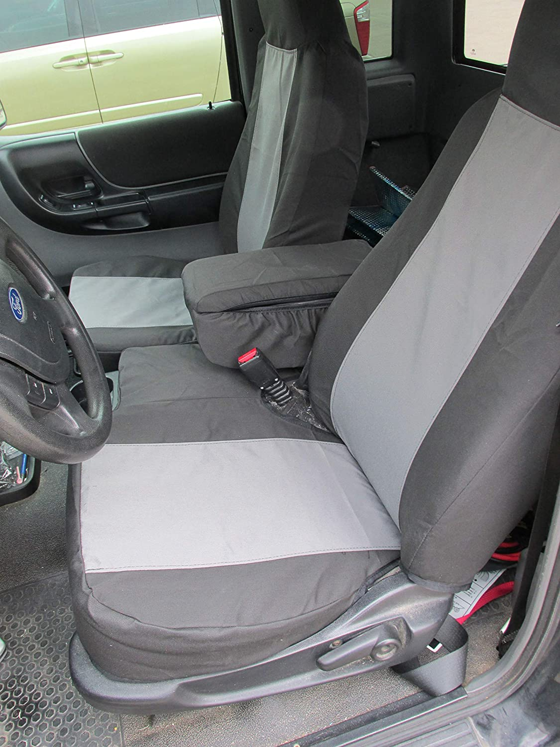 Groovy Durafit Seat Covers Made To Fit 2004 2005 Ford Ranger Pickup 60 40 Split Bench Seat Custom Seat Covers With Opening Console Black Gray Automotive Andrewgaddart Wooden Chair Designs For Living Room Andrewgaddartcom