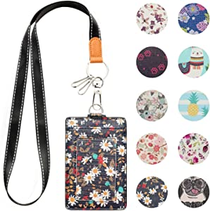 MJFloria Lanyard ID Badge Holder Case Credit Card Wallet with 1 Clear ID Window & 2 Credit Card Slot and a Detachable Neck Strap Lanyard for Women Girls Teens (Navy Floral)
