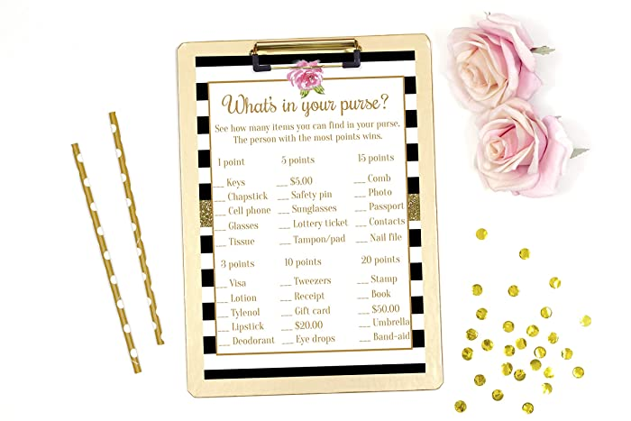 whats in your purse game bridal shower games baby shower games black and