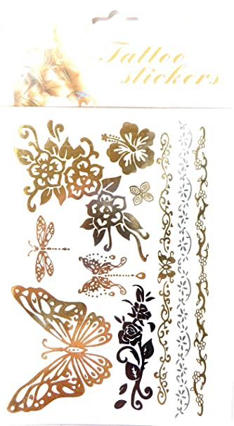 Butterfly Hibiscus Flower Flash Metallic Temporary Tattoo Removable
