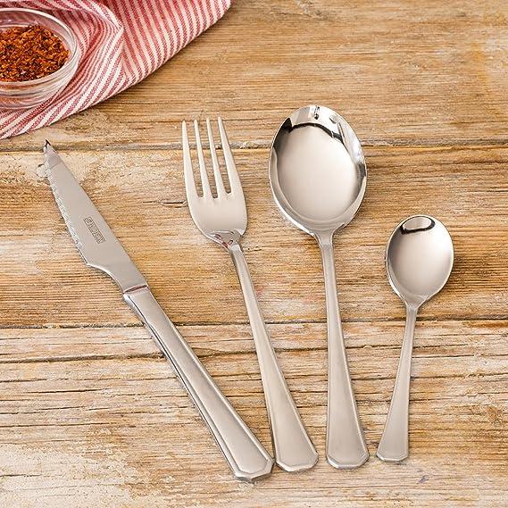 Monix Venecia - Set de cubiertos 24 piezas, cubiertos de acero inox 18/10 con cuchillo chuletero, estuche normal: Amazon.es: Hogar