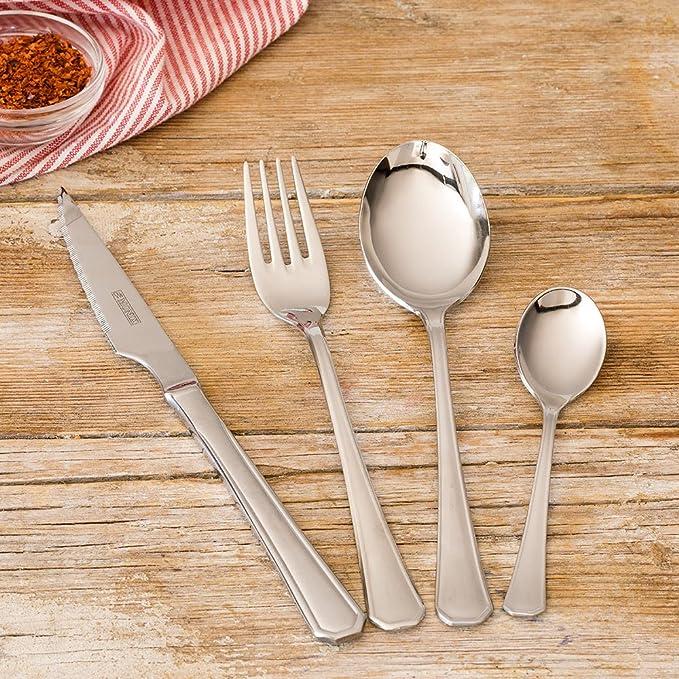 Monix Venecia - Set de cubiertos 75 piezas, cubiertos de acero inox 18/10 con cuchillo chuletero y estuche