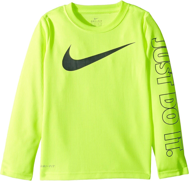 New Nike Boys Swoosh Graphic Print T-Shirt Size 4 Dark Gray MSRP $18.00