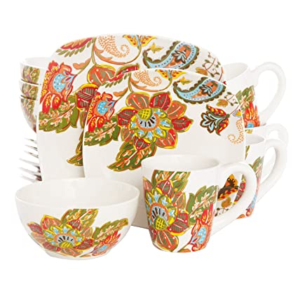Better Homes and Gardens Floral Spray 16-Piece Square Dinnerware Set Multi-Color  sc 1 st  Amazon.com & Amazon.com | Better Homes and Gardens Floral Spray 16-Piece Square ...