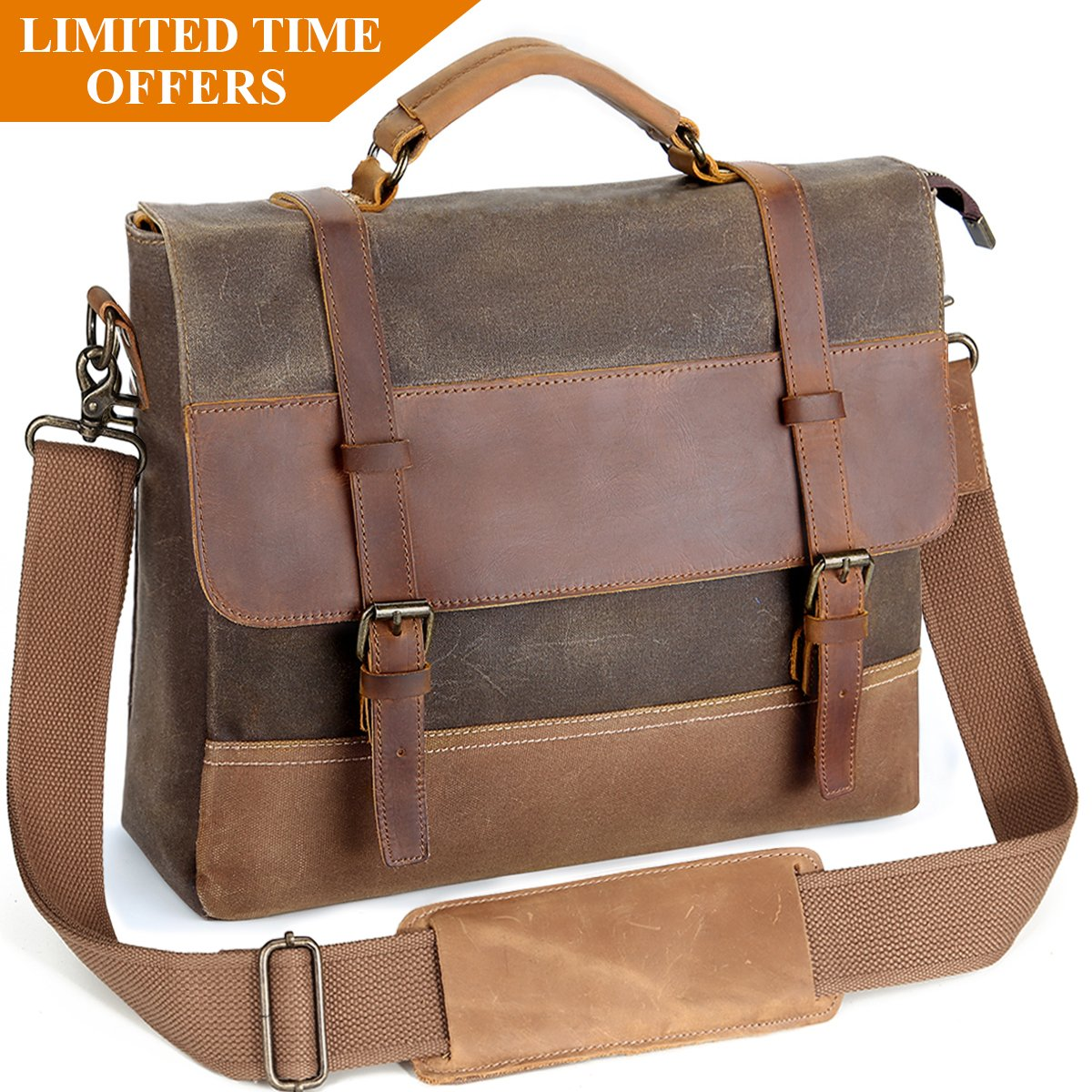 Mens Laptop Messenger Bags 14 inch, Tocode Water Resistant Leather Canvas Briefcase, Durable Satchel Shoulder Bags Large Computer Bags Office Tablet Bag for School, Work, Brown