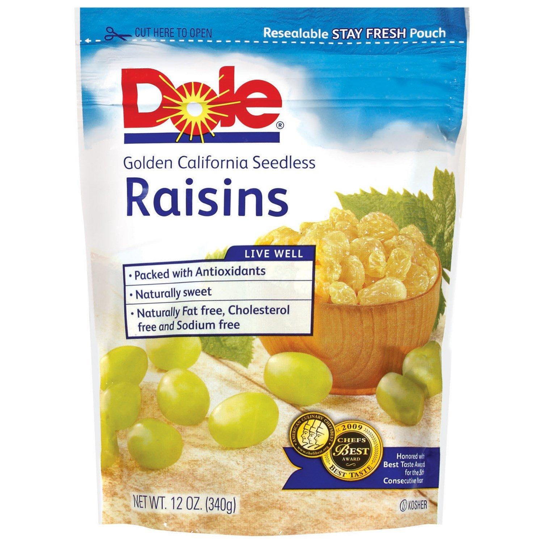 Dole Raisins Golden California Seedless, 12 OZ (Pack of 12) by Dole