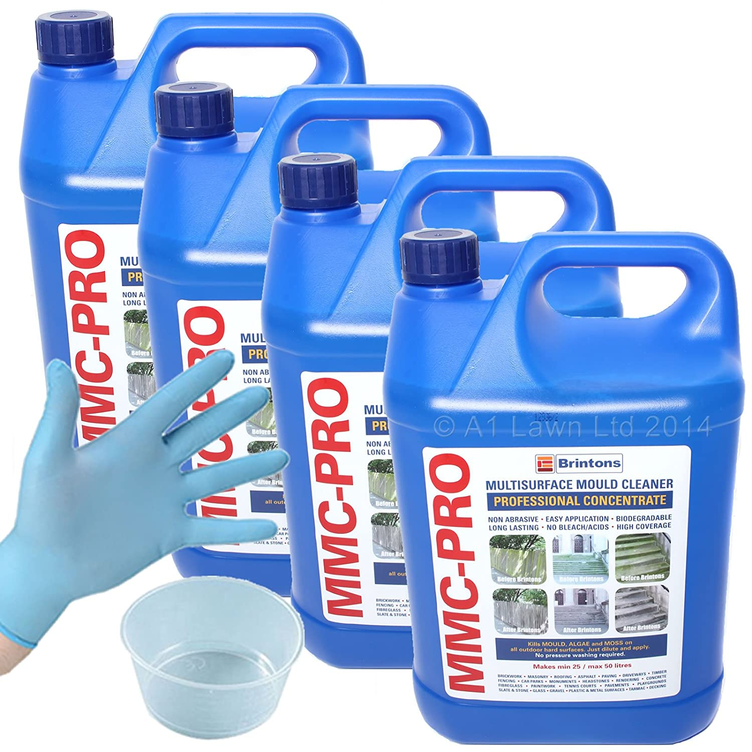 20 Ltrs MMC PRO CONCENTRATE HARD SURFACE CLEANER (+ FREE 120ml GALLIPOT & GLOVES) - KILLS MOSS & ALGAE FROM DRIVEWAYS AND PATHS
