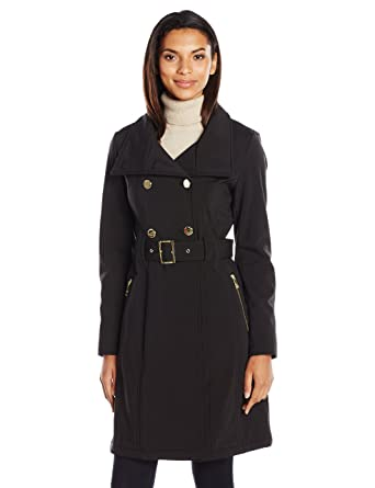 new release numerous in variety cheap for sale GUESS Women's Soft Shell Double Brested Belted Trench, Black ...