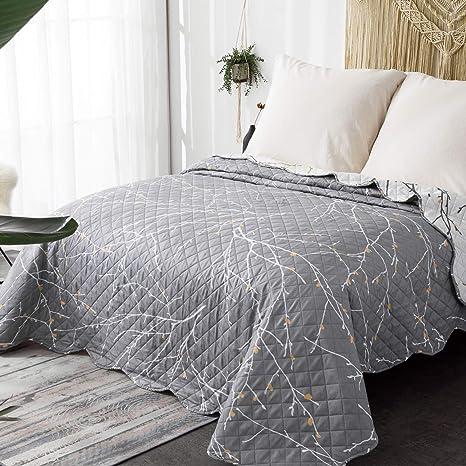 Bedsure Colchas de Verano Blancas/Gris 220x240 cm Estampada - Reversible Lavable de Microfibra Suave y Cómodo - con Moderna Pátrón de Árbol