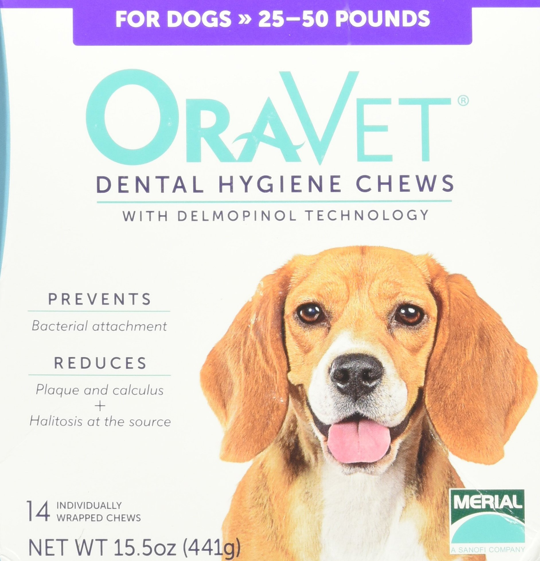 Merial Oravet Dental Hygiene Chew for Medium Dogs (25-50 lbs), Dental Treats for Dogs, 14 Count