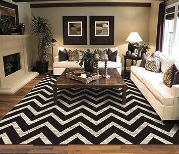 Amazon Com Large Chevron Pattern Rugs Living Room Black Cream