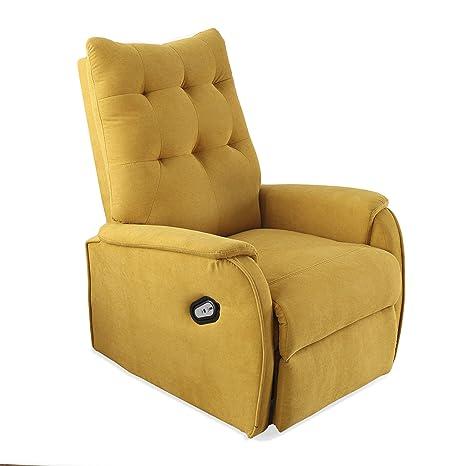 Adec - Swing, Sillón Relax Elevador Lift levantapersonas, tapizado en Tejido Color Mostaza, butaca Descanso, Medidas: 70 cm (Ancho) x 77 cm (Fondo) ...