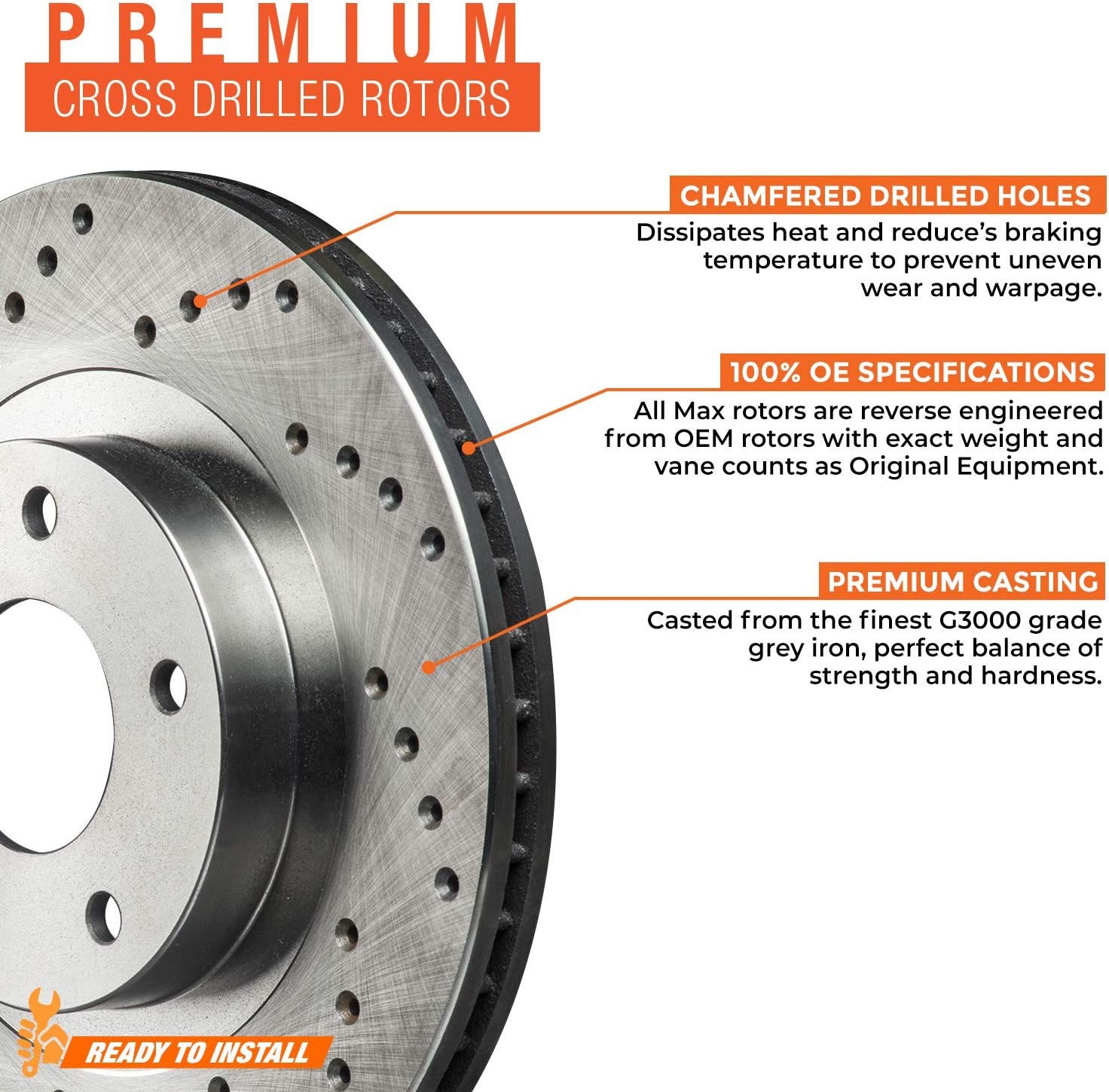 Front + Rear Max Brakes Premium XD Rotors with Carbon Ceramic Pads KT052023