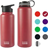 Bottlebottle 32/40 oz Insulated Stainless Steel Water Bottle with Bonus Lid, Double Wall Vacuum Sealed Flask, Wide Mouth, BPA Free, Cold 24 Hrs / Hot 12 Hrs