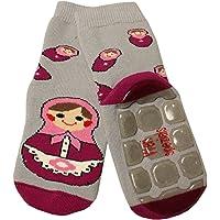 Weri Spezials Unisexe Bebes et Enfants ABS Eponge Matriochka Pantoufle Chaussons Chaussettes Antiderapants Gris