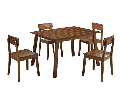 Boraam 33212 Zebra Series 5 Piece Hagen Dining Room Set, Honey Oak