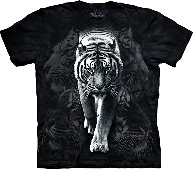 Amazon.com  The Mountain White Tiger Stalk Adult T-Shirt  Clothing e1493022be38