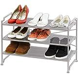 SimpleHouseware 3 Tier Stackable Shoe Shelves Utility Storage Rack Closet Organizer, Silver