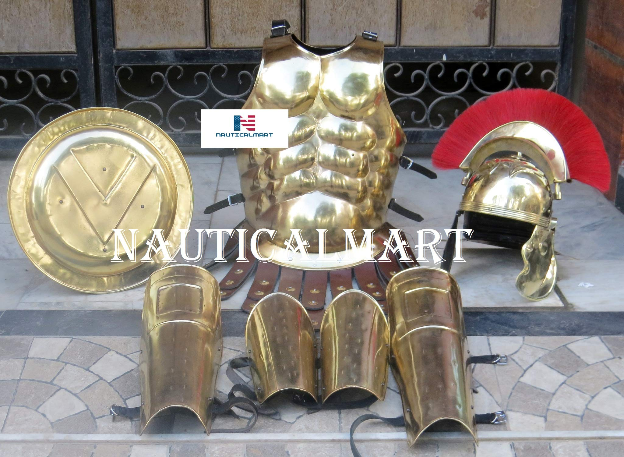 NauticalMart Roman Muscle Body Armor Set Functional Medieval Cuirass with Brass Centurion Helmet, Leg & Arm Guard, Shield Halloween Outfit Brass by NauticalMart
