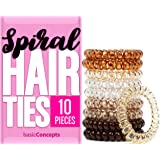 Spiral Hair Ties (10 Pieces), Coil Hair Ties for Thick Hair, Ponytail Holder Hair Ties for Women (Assorted Colors), No Crease Hair Ties, Phone Cord Hair Ties for all Hair Types with Plastic Spiral