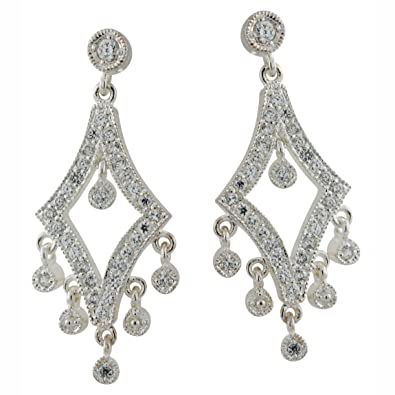 d2fb31801b2029 Image Unavailable. Image not available for. Color: Sterling Silver Cubic  Zirconia Chandelier Earrings